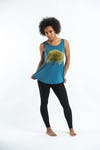 Super Soft Womens Tree Tank Top Denim Blue