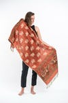 Nepal Elephant Pashmina Shawl Scarf in Orange