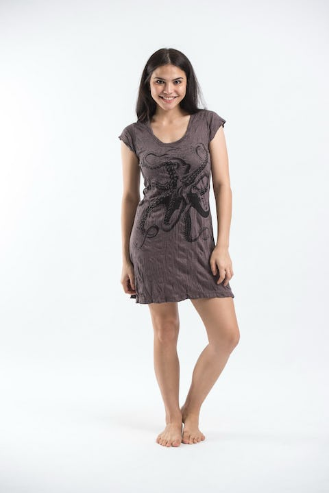 Sure Design Womens Octopus Dress Brown