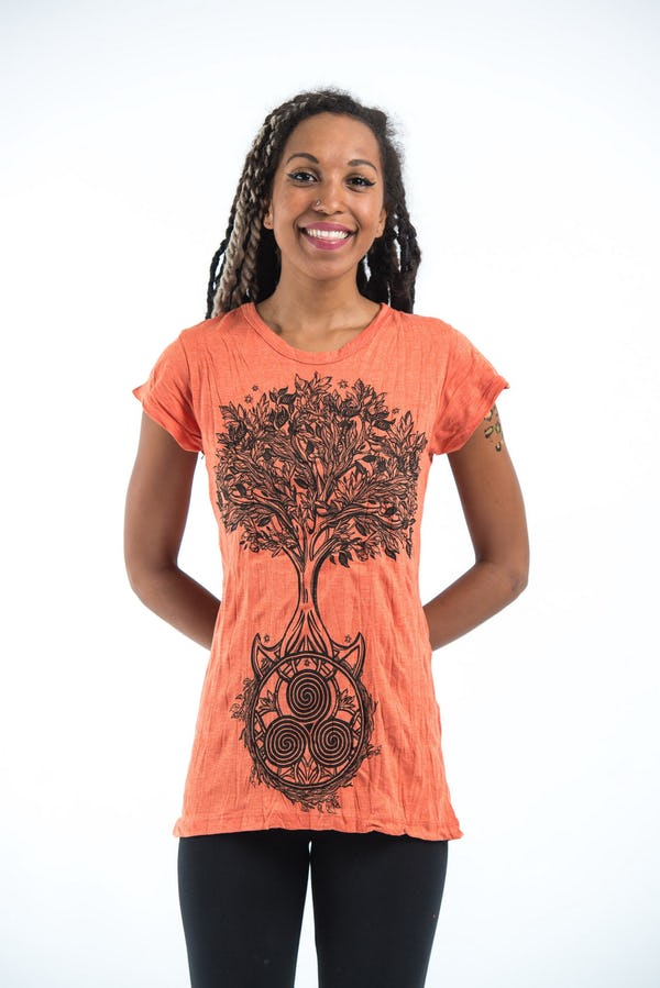 Sure Design Womens Celtic Tree T-Shirt Orange