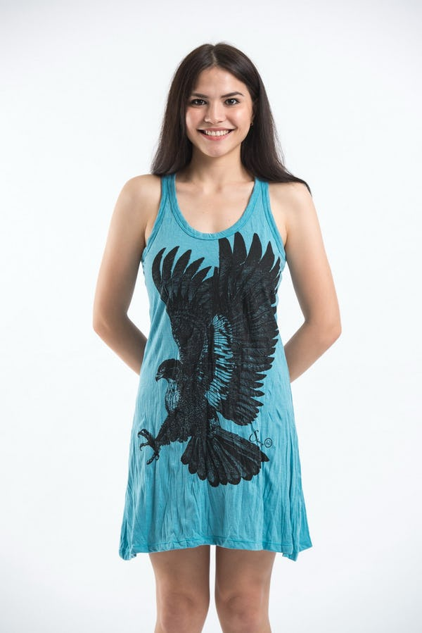 Sure Design Womens Eagle Tank Dress Turquoise