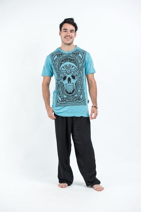 Sure Design Mens Trippy Skull T-Shirt Turquoise