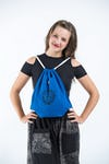 Ohm Drawstring Cotton Canvas Backpack in Blue