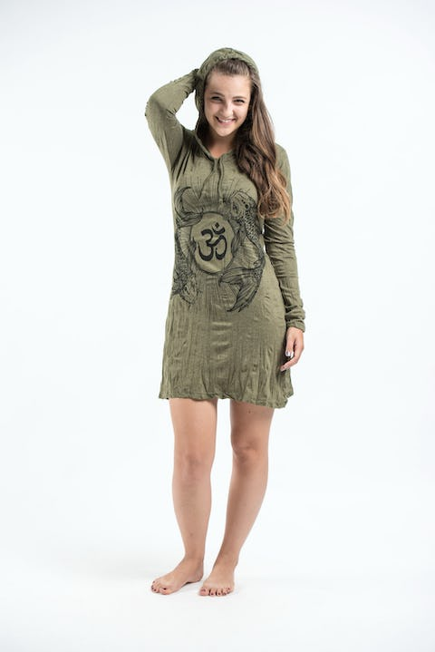 Sure Design Womens Ohm and Koi Fish Hoodie Dress Green
