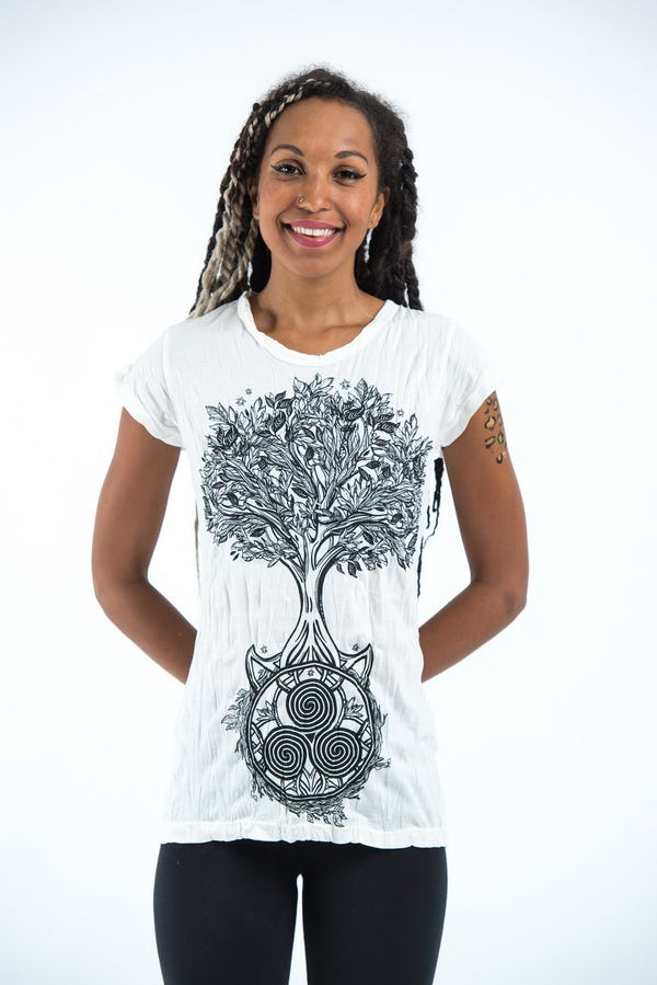 Sure Design Womens Celtic Tree T-Shirt White
