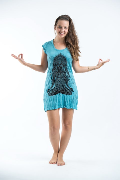 Sure Design Womens Ganesh Mantra Dress Turquoise