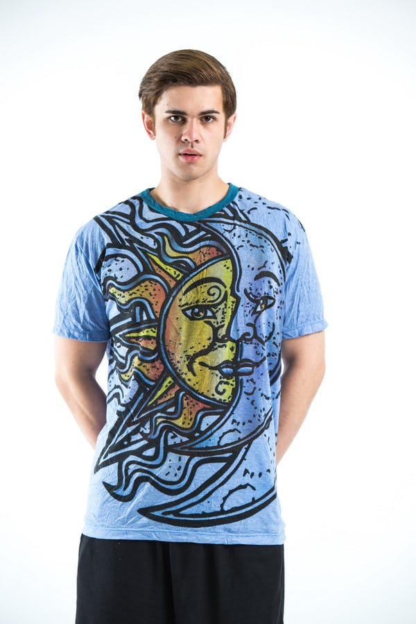 Sure Design Mens Sun and Moon T-shirt Blue