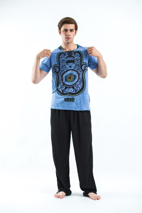 Sure Design Mens Hamsa Eye Power T-Shirt Blue