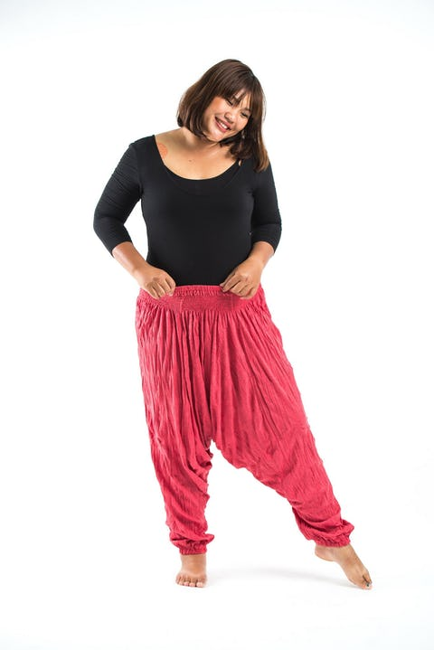 Plus Size Unisex Crinkled Cotton Harem Pants in Red