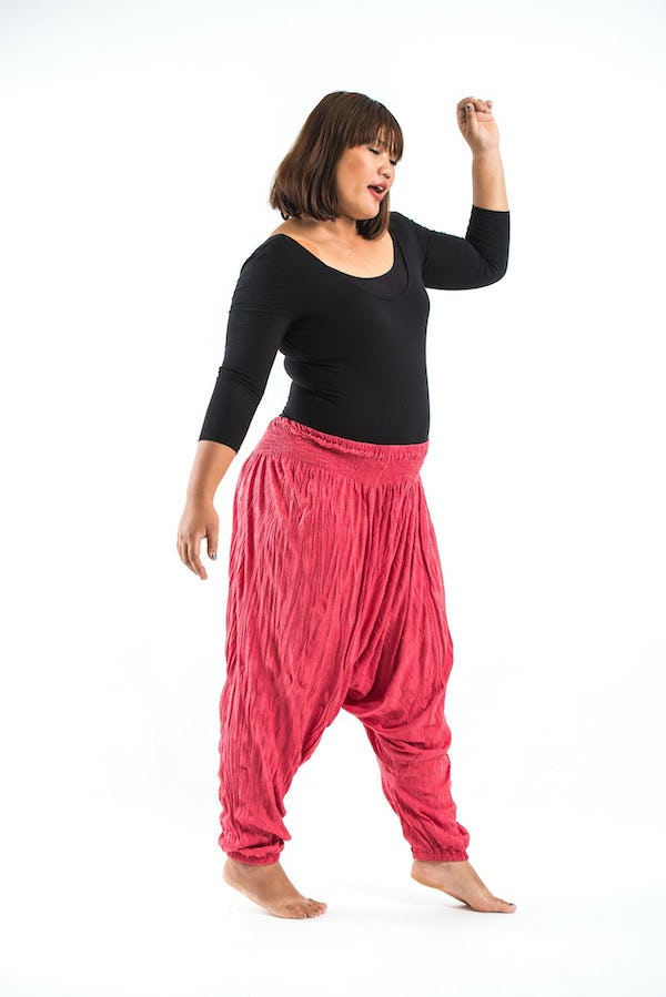 Plus Size Super Soft Harem Pants in Red