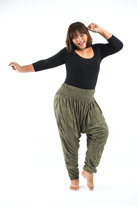 Plus Size Super Soft Harem Pants in Green