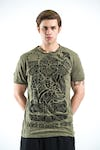 Sure Design Mens Tattoo Ganesh T-Shirt Green