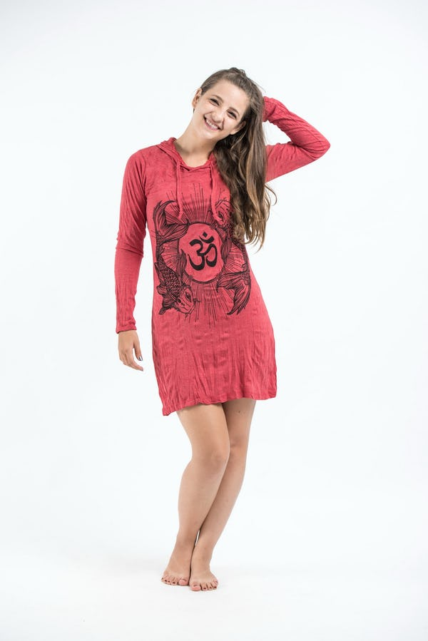 Sure Design Womens Ohm and Koi Fish Hoodie Dress Red