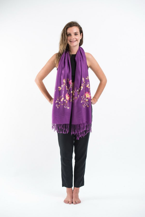 Fair Trade Hand Made Nepal Pashmina Scarf Shawl Embroidered Purple