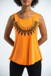 Super Soft Womens Feather Necklace Tank Top Orange