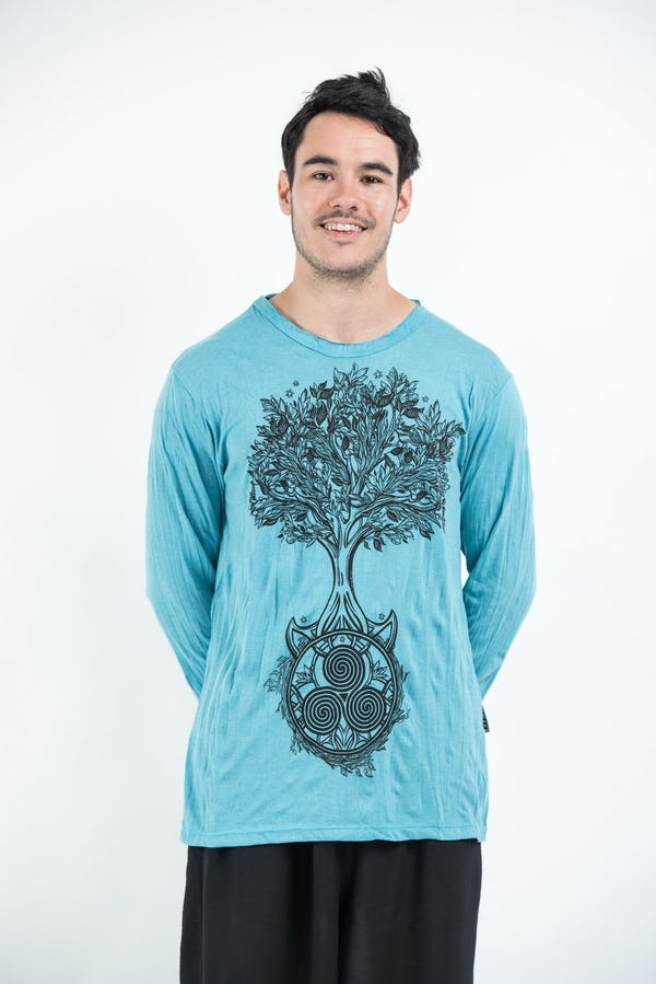 Sure Design Unisex Celtic Tree Long Sleeve Shirt Turquoise