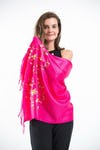 Fair Trade Hand Made Nepal Pashmina Scarf Shawl Embroidered Red