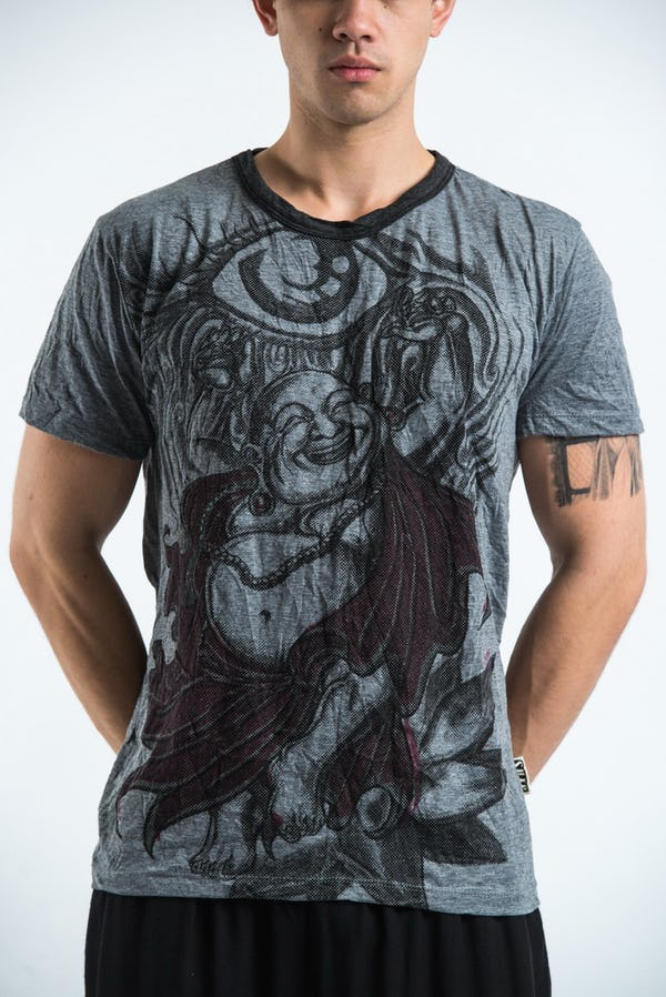 Sure Design Mens Happy Buddha T-shirt Gray
