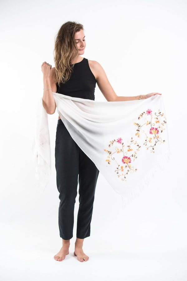 Nepal Floral Embroidered Pashmina Shawl Scarf in White