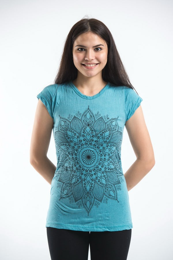 Sure Design Womens T-Shirt Lotus Mandala Turquoise