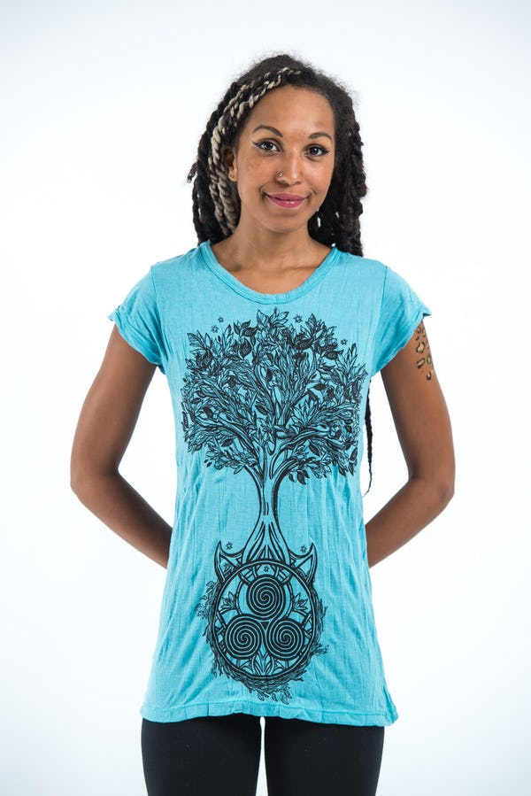 Sure Design Womens Celtic Tree T-Shirt Turquoise