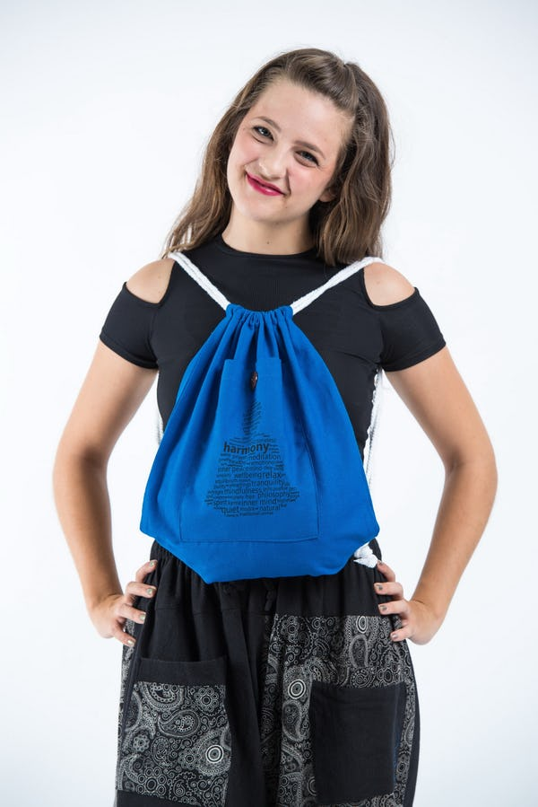 Harmony Cotton Drawstring Backpack in Dark Blue