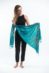 Fair Trade Hand Made Nepal Pashmina Scarf Shawl Embroidered Teal
