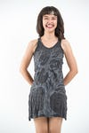Womens Om Tree Tank Dress in Silver on Black