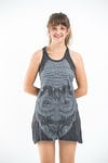 Sure Design Womens Buddha Head Tank Dress Silver on Black