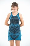 Sure Design Womens Buddha Head Tank Dress Denim Blue