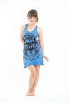 Sure Design Womens Three Eyed Cat Tank Dress Blue