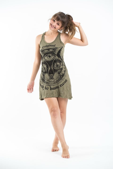 Sure Design Womens Three Eyed Cat Tank Dress Green