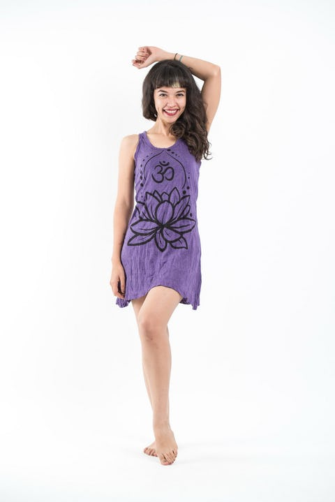 Womens Lotus Om Tank Dress in Purple
