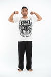 Sure Design Mens Three Eyed Cat T-Shirt White