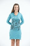 Sure Design Womens Ohm and Koi Fish Hoodie Dress Turquoise