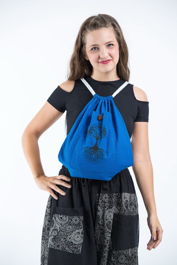 Tree of Life Cotton Drawstring Backpack in Dark Blue