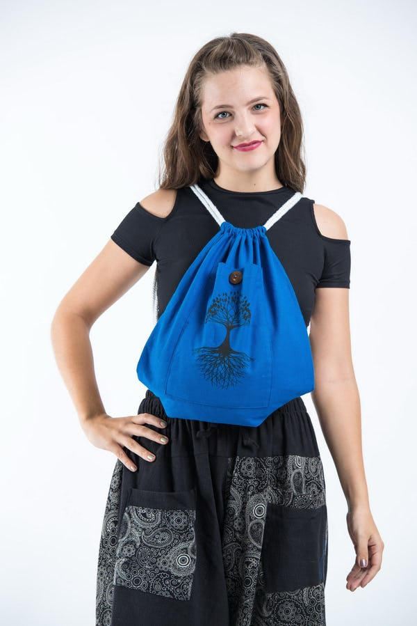 Tree of Life Drawstring Cotton Canvas Backpack in Dark Blue
