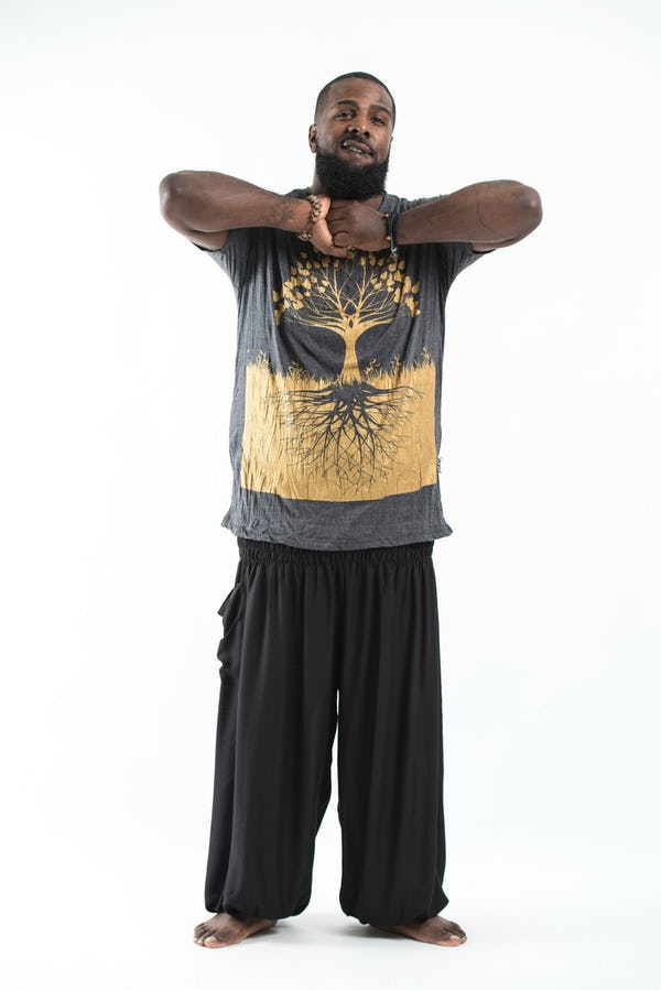 Plus Size Mens Tree of Life T-Shirt in Gold on Black