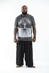 Plus Size Men's Tree of Life T-Shirts Silver on Black