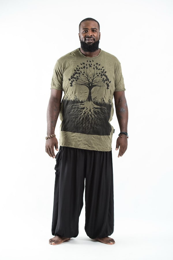 Plus Size Men's Tree of Life T-Shirts Green
