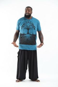 Plus Size Men's Tree of Life T-Shirts Turquoise