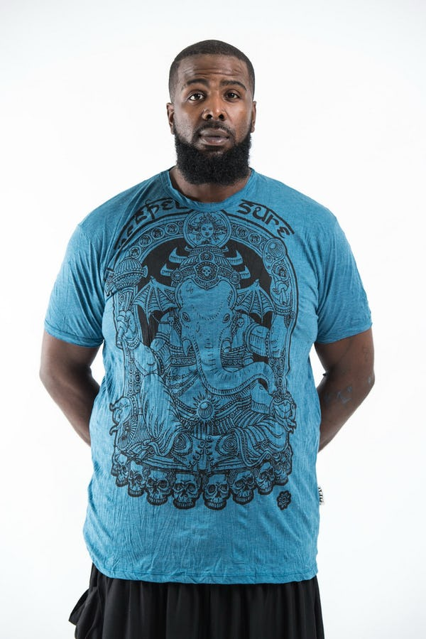 Plus Size Men's Batman Ganesh T-Shirts Denim Blue