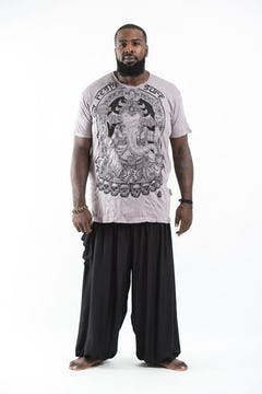 Plus Size Men's Infinitee Ohm T-Shirts Silver on Black