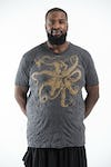 Plus Size Mens Octopus T-Shirt in Gold on Black