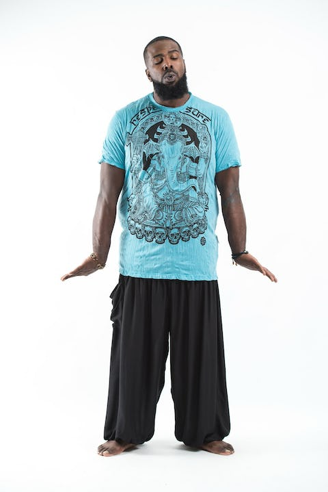 Plus Size Men's Batman Ganesh T-Shirts Turquoise