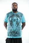Plus Size Men's Wild Elephant T-Shirts Turquoise