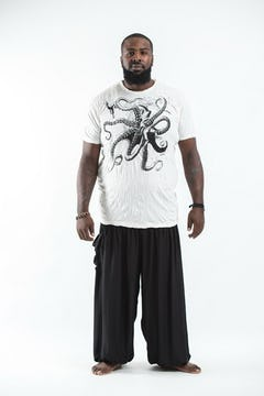 Plus Size Men's Octopus T-Shirts Silver on Black