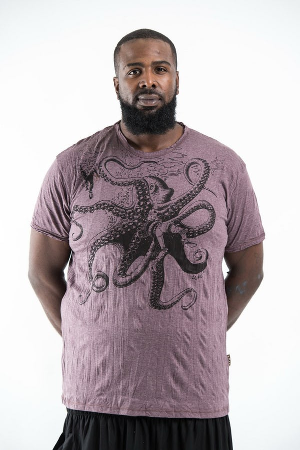 Plus Size Men's Octopus T-Shirts Brown