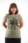 Plus Size Women's Octopus T-Shirts Green