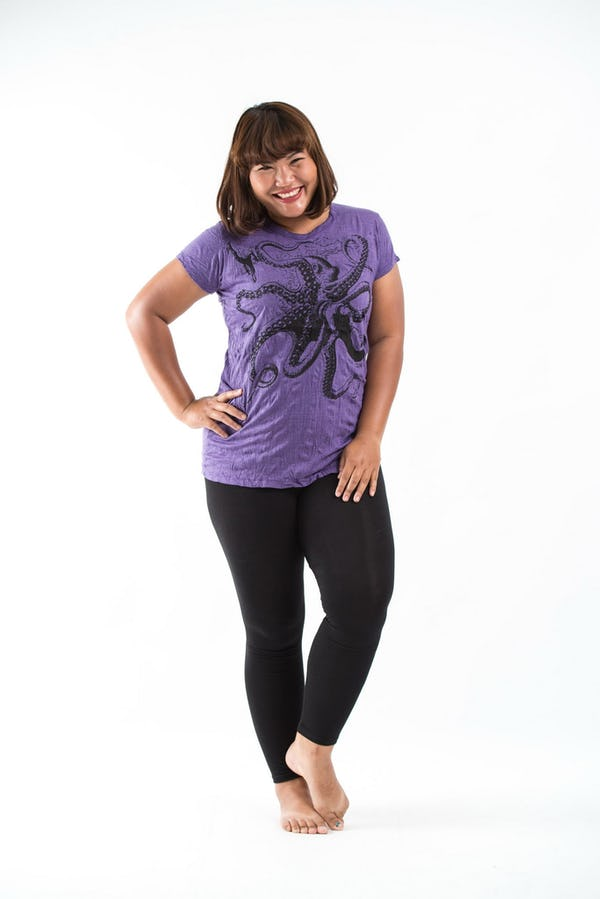 Plus Size Womens Octopus T-Shirt in Purple